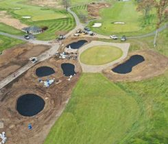 Drainage work on Cherry Valley's No. 11 and No. 16 holes are complete and the installation of Blinder Bunker material is almost complete. (Photo: Chris Caporicci)