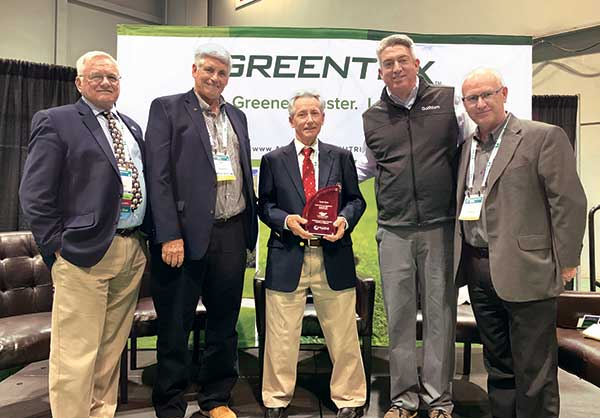 David Stone (center) was honored by fellow Legends (left to right) Ted Horton, Matt Shaffer and Jones. (Photo: Golfdom Staff)