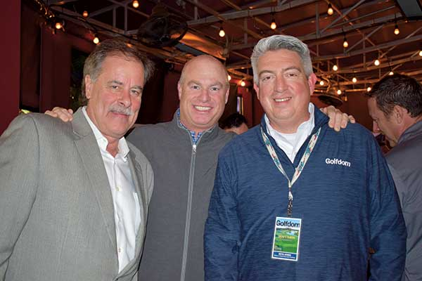 Bill Larson, CGCS, Town & Country Club, St. Paul, Minn., (left), and Chris Dalhamer, Pebble Beach (center), with Jones. (Photo: Golfdom Staff)