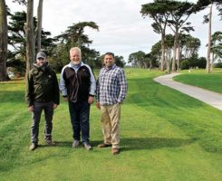 (Left to right), Geoff Plovanich, agronomy manager; Kevin Teahan, San Francisco's Department of Recreation & Parks golf and turf manager; and Almar Valenzuela, superintendent. (Photo: Golfdom Staff)