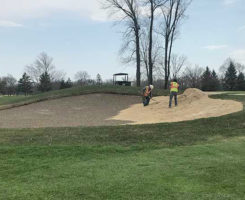 Chase Walden, superintendent of of Old Oakland Golf Club in Indianapolis, Ind., says if you opt for an outside contractor to work on your bunkers, expect to work long hours as the crew wants to complete the job as quick as they can. (Photo: Chase Walden)