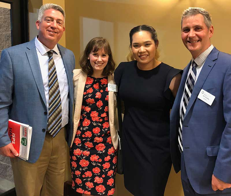 Seth Jones, Clara McHugh and Bill Roddy with Ariya Jutanugarn, GWAA female player of the year during the Golf Writers Dinner in 2019. (Photo: Golfdom Staff)