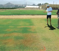 Marco Schiavon, Ph.D., University of California-Riverside, discusses the effectiveness of plant growth regulators, soil surfactants and fertilizer treatment combinations to conserve water on golf course fairways. (Photo: Mike Kenna)