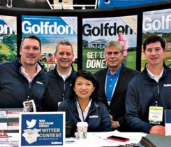 (L to R) Craig MacGregor, Bill Roddy, Abby Hart, Karl Danneberger, Ph.D., and Jake Goodman at the 2018 Golf Industry Show. (Photo: Golfdom Staff)