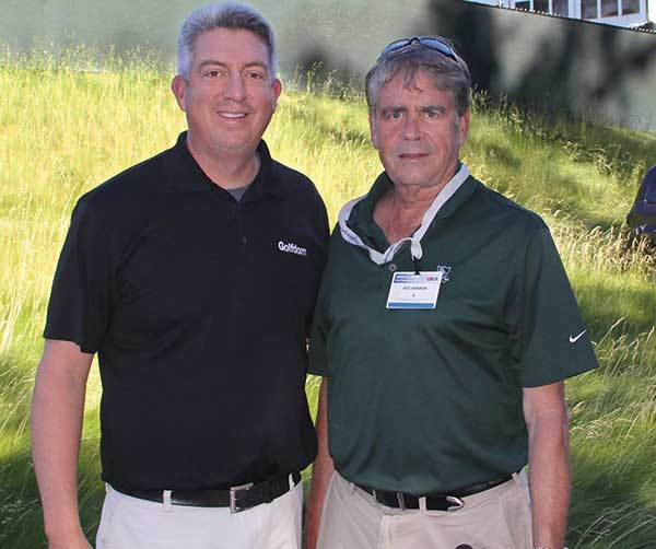 Golfdom's Seth Jones and Karl Danneberger, Ph.D., at the 2016 U.S. Open at Oakmont (Pa.) Country Club. (Photo: Golfdom Staff)