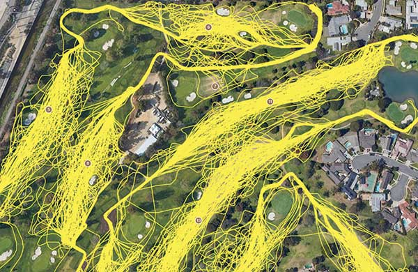 GPS shows the routes 121 single-rider carts took in a single day at Mesa Verde CC. (Photo: Mesa Verde CC)