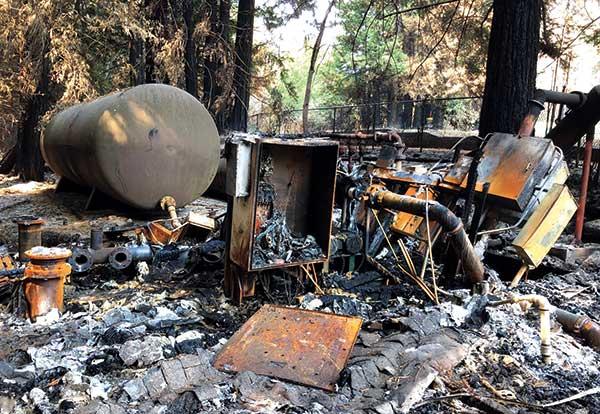 A burned -out Rain Bird pump station near Boulder Creek (Calif.) GC. (Photo: Jerry Bibbey)