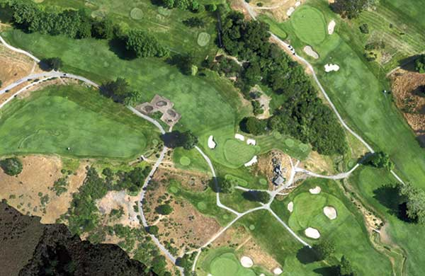 Kevin Hauschel, superintendent of the Meadow Club, uses aerial images to help communicate project updates, like this bunker renovation on the 12th hole, to members. (Photo: Kevin Hauschel)