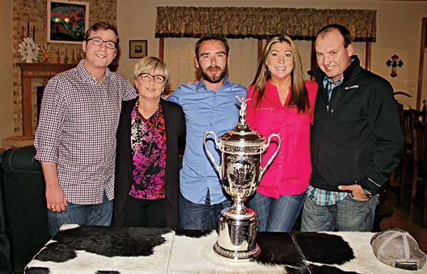 Patrick, Kay, Andrew, Carly and Travis with the U.S. Open trophy when Jim Moore was in charge of bringing the trophy to the Golf Industry Show. (Photo: The Moore family)