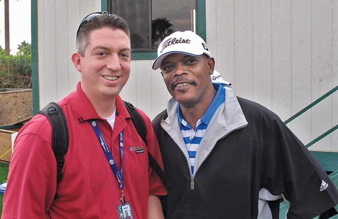 Seth Jones and Samuel L. Jackson (Photo: Sean Lipford)