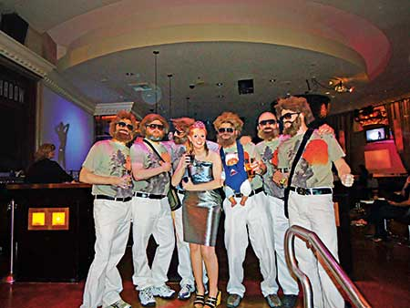 At the Nufarm party, Editor Christina Herrick was invited to join the wolf pack — a group of fun party dudes dressed as Alan from The Hangover. (Photo provided by Golfdom Staff)