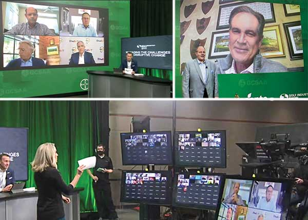 "Scenes from the virtual Golf Industry Show: (clockwise from top left) GCSAA CEO Rhett Evans hosting a panel with some of golf's most influential people; GCSAA President John Fulling, CGCS, presenting Jim Nantz with the Old Tom Morris Award; and Golf Channel's Lauren Thompson addressing the ""live"" audience. (Photos: Golfdom Staff)"