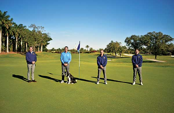 Left to right: PJ Salter, CGCS, director of agronomy, Drew Nottenkamper, golf course superintendent (pictured with Drew's dog and resident fowl control Jett, a border collie from Fly Away Geese), Mike Heinz, second assistant superintendent, and Mike Smith, first assistant superintendent. (Photo courtesy of Riviera CC)