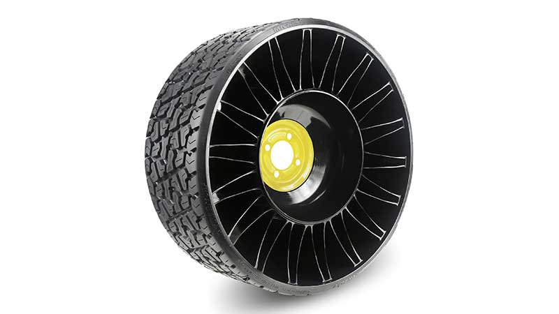 Michelin North America's new 26x12N12 X Tweel Turf XL is a 26-inch airless radial tire available in three hub configurations and includes a load capacity of 1,031 pounds. (Photo: Michelin)