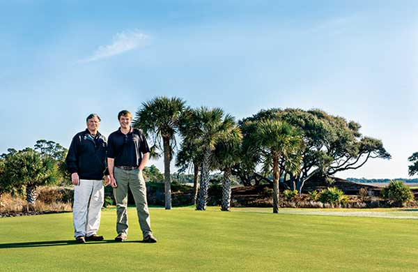 Jeff Stone, superintendent, and Robert Polk, assistant superintendent, at the Ocean Course last month. (Photo: Stacy Howell)