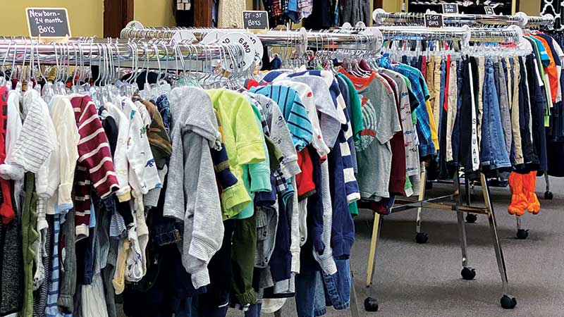 Clothing donated to Bridge 127. (Photo courtesy of the Weinert Family)