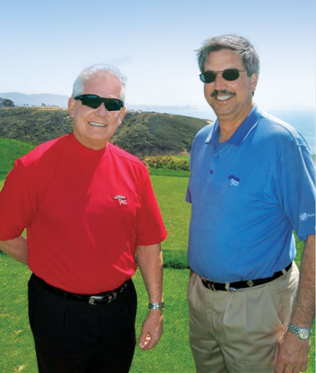 Woodward (left) and Jon Maddern, CGCS, teamed up to take on the 2008 U.S. Open conditions. (Photo courtesy of Mark Woodward)