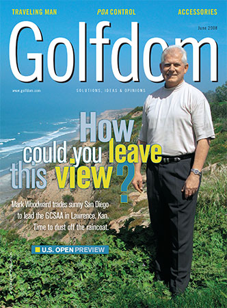 Mark Woodward, CGCS, featured on the cover of the June 2008 U.S. Open preview issue. (Photo courtesy of Golfdom archives)