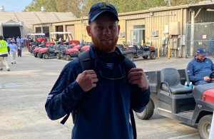 Cameron Gurtner, assistant superintendent at Meridian Hills Country Club in Indianapolis, Ind. volunteered at this year's U.S. Open and said he was excited to see fans back on the course for a tournament. (Photo: Golfdom Staff)