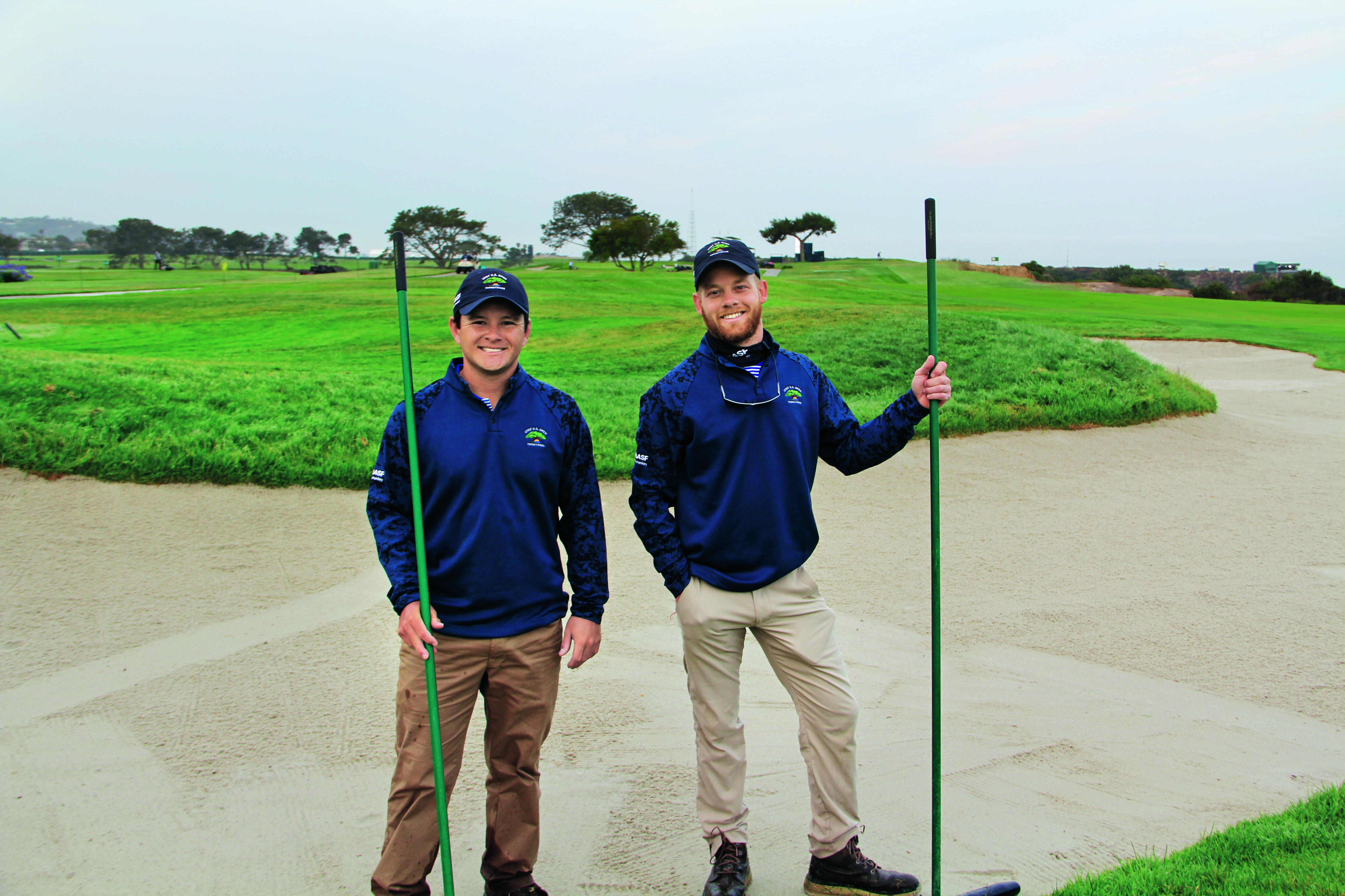 The early wake-up call is no big deal to Cole Yoshida (left), assistant superintendent at Rolling Hills CC, Rolling Hills Estates, Calif., alongside Cameron Gurtner, assistant superintendent at Meridian Hills CC in Indianapolis. (Photo: Golfdom Staff)