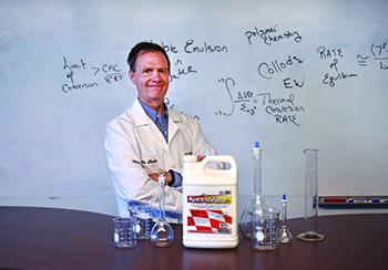 Dale Sanson, Ph.D., discusses PBI-Gordon's SpeedZone herbicide (Photo courtesy: PBI-Gordon).