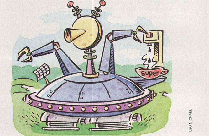 High-tech greens mower illustration (illustration: Leo Michael)