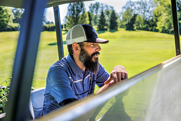 """For Zach Ferone, greenskeeping is a source of pride: """"There's those moments where you lay down some stripes on a green and you say to yourself, 'that looks sweet, let me take a photo.'"""" (Photo: Matthew Allen)"""
