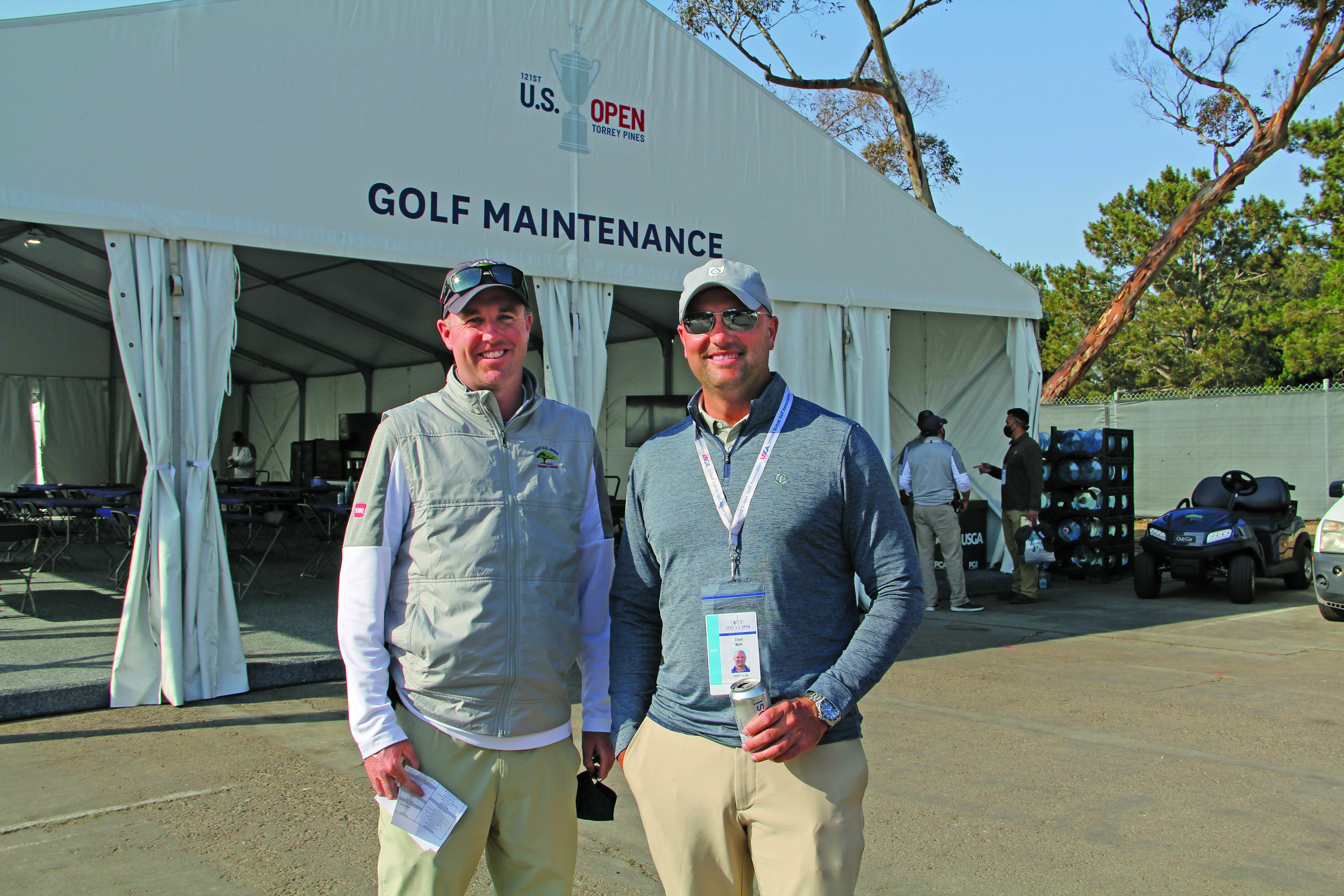 Go Buckeyes! Two Ohio State alums, 2021 U.S. Open host superintendent Rich McIntosh (left), Senior Superintendent, Torrey Pines Golf Courses, San Diego, with his friend Chad Mark, director of grounds, Muirfield Village, Dublin, Ohio. (Photo: Golfdom Staff)