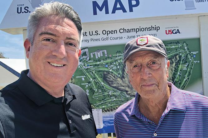 Longtime friends Seth Jones (left), Golfdom editor-in-chief, alongside the Open Doctor, Rees Jones (Photo credit: Golfdom staff).