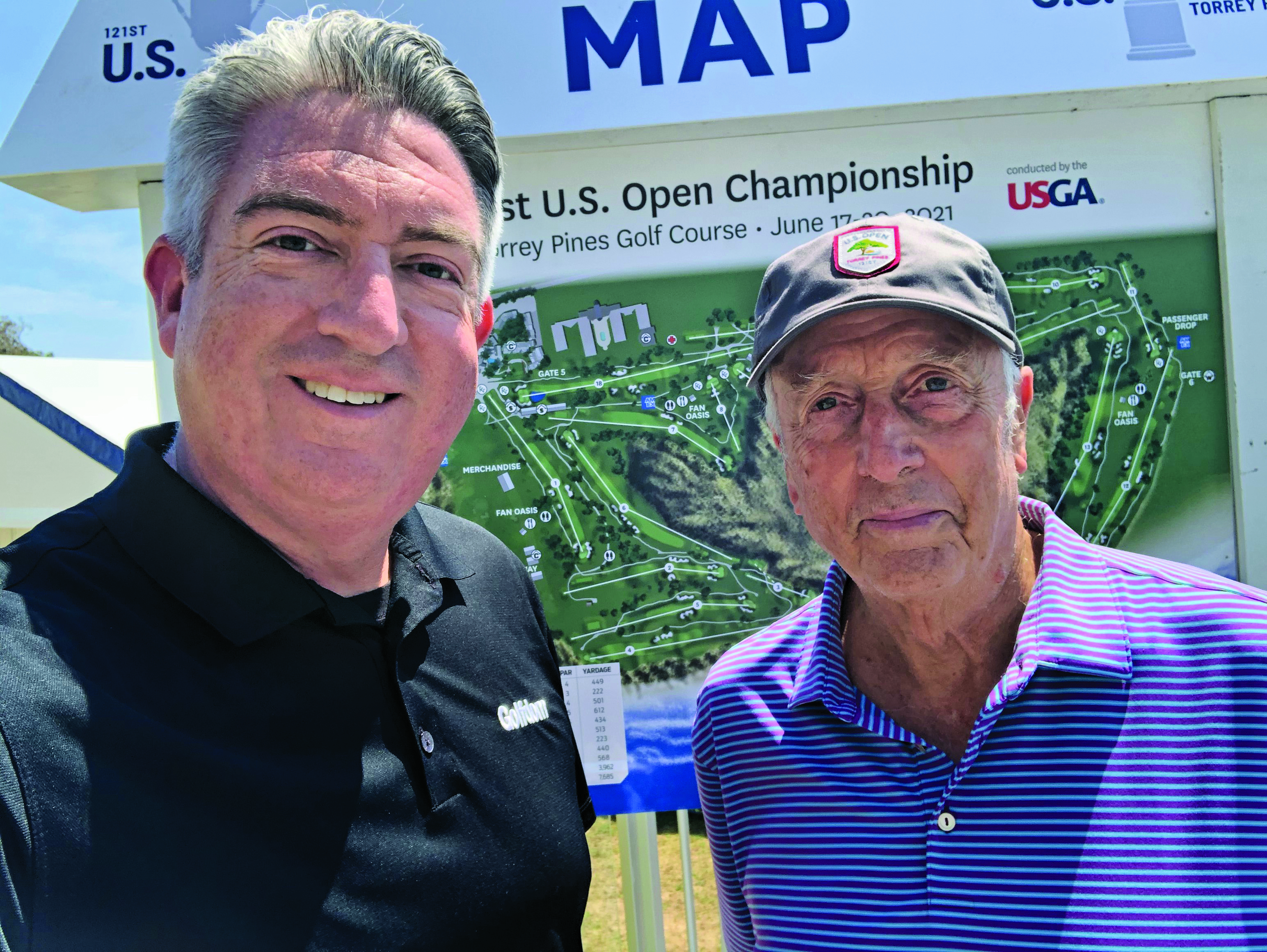 It's good to see these two together again: longtime friends Seth Jones (left), Golfdom editor-in-chief alongside the Open Doctor, Rees Jones. (Photo: Golfdom Staff)