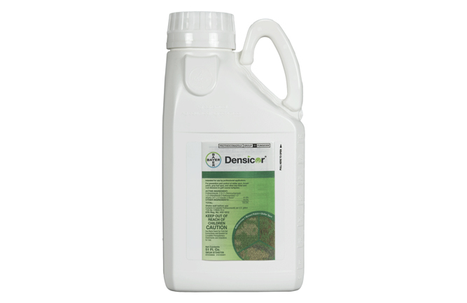 Desicor, a new fungicide is used to fight five turf diseases: dollar spot, brown patch, anthracnose, gray leaf spot, and snow mold. (Photo courtesy of Bayer.)