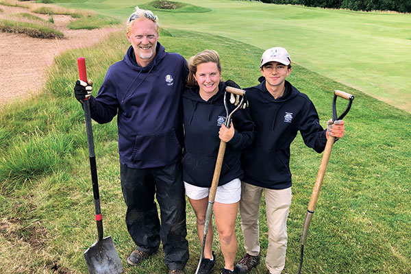 Ron Fuller, irrigation technician, with maintenance employees Maggie Mueller and Alan Tipple (Photo: Golfdom Staff)