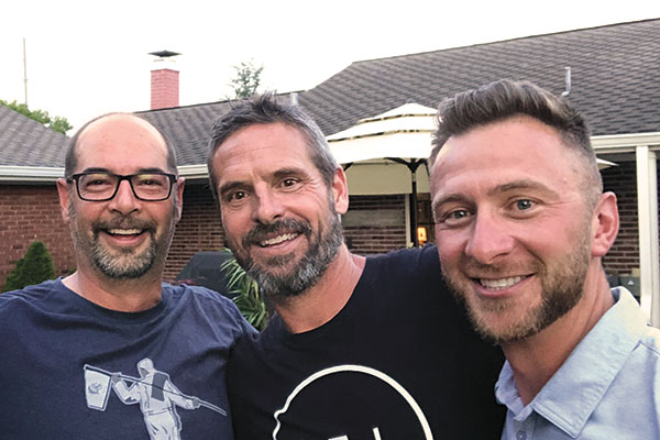 Paul Hurst (center), co-owner of GreensPro and Twitter famous for his band Midlife, Rob Kick (left), superintendent at Algonquin GC, St. Louis, Andrew Decker (right), superintendent at Effingham (Ill.) CC. (Photo: Golfdom Staff)