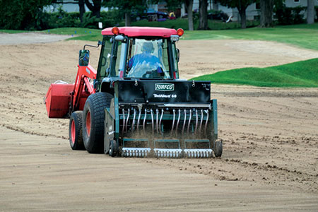 Both Johnson and Keller used Turfco's TriWave 60 tractor-mounted overseeders to regrass their courses' fairways. (Photo: Turfco)