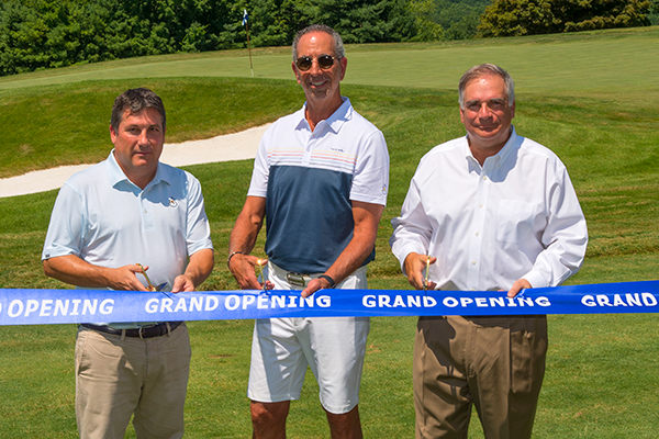 The Summit Club at Armonk celebrated its grand opening on July 24. (Left to right) Bryce Swanson, Rees Jones Inc; Jeffrey Mendell, managing partner at The Summit Club at Armonk; Chris Schiavone, managing partner at The Summit Club at Armonk. (Photo courtesy of Jim Krajicek)