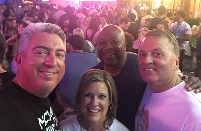 Golfdom Editor-in-Chief Seth Jones (left) was happy to not only get out to enjoy a concert, but also to make some new friends in the industry by meeting PBI-Gordon's Brett Rieck (right) at the concert (with wife, Dana and Seth's friend Sean Lipford in back.) (Photo: Seth Jones)