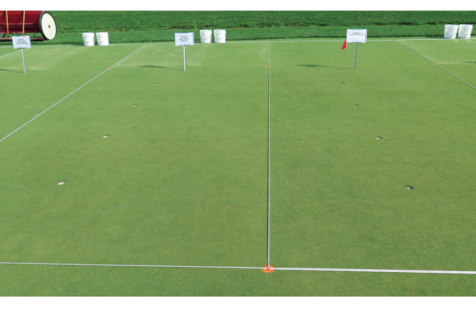The medium-coarse sand topdressed plot on the left has significantly better turf density and lower surface moisture than the core-aerated, nontopdressed plot on the right, which has a darker green color due to surface algae. (Photo courtesy of Brian Whitlark)