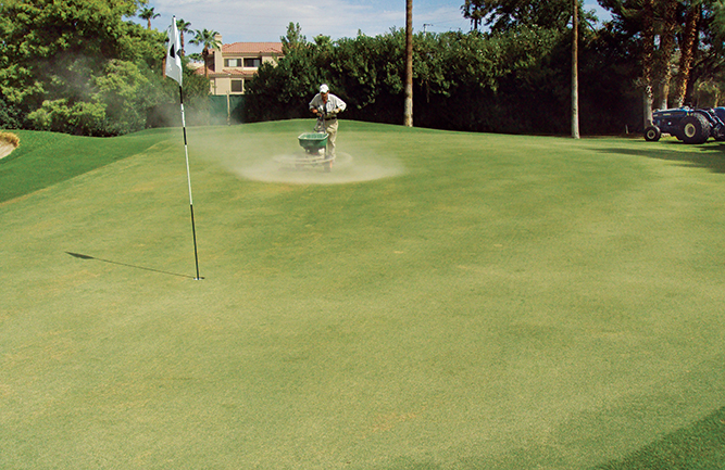 Light topdressing rates of 0.50 to 0.75 cubic feet of sand per 1,000 square feet are used during periods of minimal growth. (Photo courtesy of Brian Whitlark)