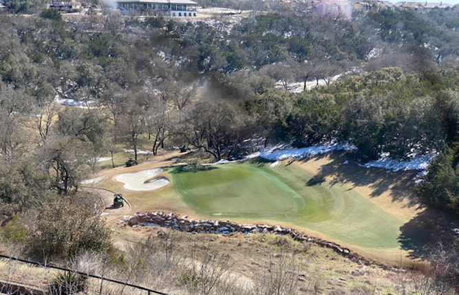 Twin Creeks Country Club near Austin survived February's deep freeze with no turf loss, despite 170 hours spent below freezing. (Photo: Stephen Karsh)