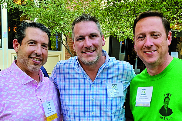 Greg Nathan (left), chief business officer, National Golf Foundation, was one of the speakers at the recent Primera Annual Meeting, pictured here with MacGregor and Sam Wineinger, manager, turf and ornamental marketing and formulation business, Sipcam Agro USA. (Photo: Golfdom Staff)