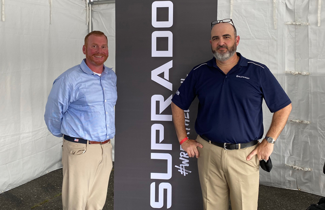 Ian Rodriguez, Ph.D., technical services manager at Quali-Pro and Steve McDonald, owner of Turfgrass Disease Solutions spoke to superintendents who traveled to hear about Suprado. (Photo: Golfdom Staff)